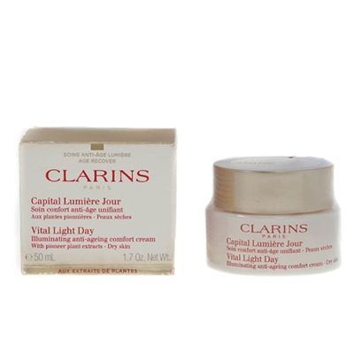 Clarins Vital Light Day Illuminating Anti Ageing Comfort Cream With Pioneer Plant Extract Dry Skin 1.7 oz / 50ml