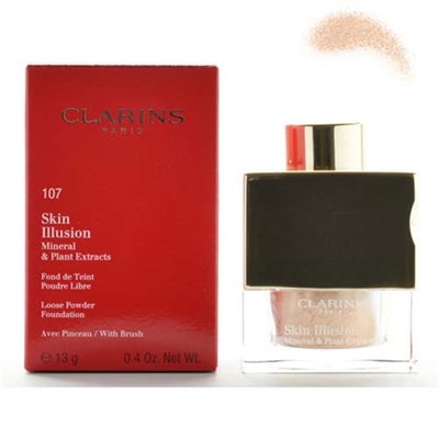 Clarins Skin Illusion Mineral & Plant Extracts Loose Powder Foundation With Brush 107 Beige 0.4 oz / 13g