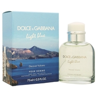 Light Blue Discover Vulcano by Dolce & Gabbana for Men 2.5oz Eau De Toilette Spray