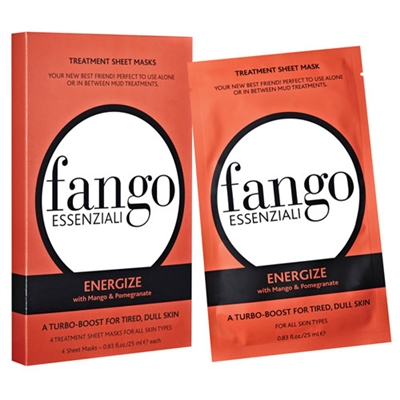 Borghese Fango Essenziali Energize Treatment Sheet Masks 4pc All Skin Types 0.83oz / 25ml