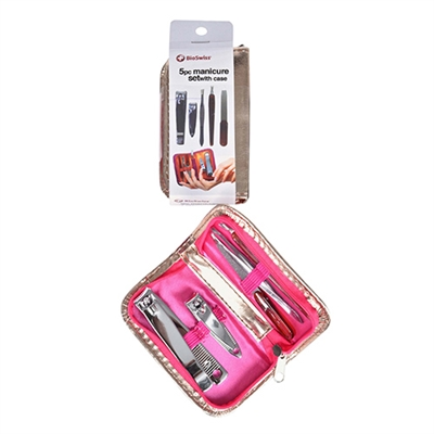 BioSwiss 5 Piece Manicure Set With Case (Colors May Vary)