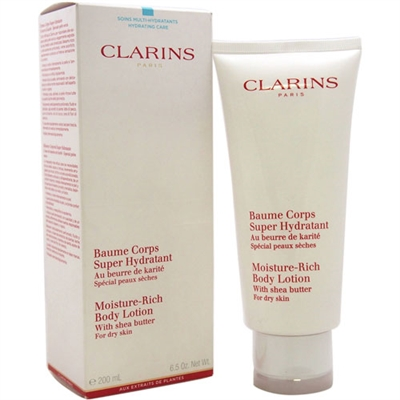 Clarins Moisture Rich Body Lotion Shea Butter For Dry Skin 6.5oz / 200ml