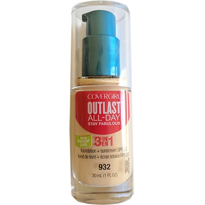 Covergirl Outlast All-Day Stay Fabulous 3-In-1 Foundation SPF20 932 Nude Beige 1oz / 30ml