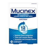 Mucinex 12 Hour Expectorant 20 Extended Release Bi-Layer Tablets