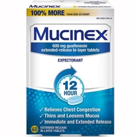 Mucinex 12 Hour Expectorant 40 Extended Release Bi-Layer Tablets