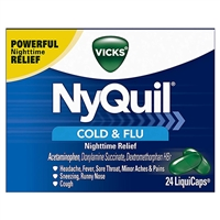 Vicks NyQuil Cold & Flu Nighttime Relief 24 LiquiCaps