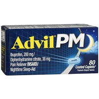 Advil PM Pain Reliever Nighttime Sleep-Aid 80 Coated Caplets