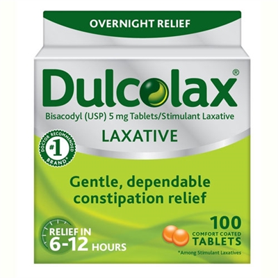 Dulcolax Laxative Constipation Relief 100 Tablets