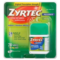Zyrtec Allergy 24HR Indoor & Outdoor Allergies 70 Tablets