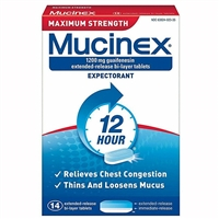 Mucinex Maximum Strength 12HR Expectorant 14 Bi-Layer Tablets