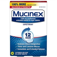 Mucinex Maximum Strength 12 Hour Chest Congestion Expectorant 28 Bi-Layer Tablets
