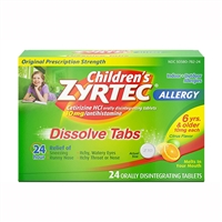 Zyrtec Children's Allergy 24 Hour Dissolve Tabs Citrus Flavor 24 Tablets