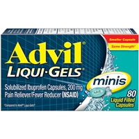 Advil Liqui Gels Minis Pain Reliever 80 Liquid Filled Capsules