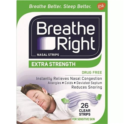 Breathe Right Extra Strength Nasal Strips Sensitive Skin 26 Clear Strips