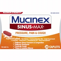 Mucinex Maximum Strength Sinus-Max Pressure, Pain & Cough 20 Caplets