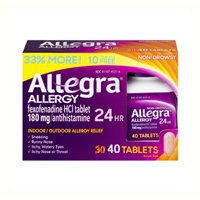 Allegra Allergy Non-Drowsy 24HR Indoor/Outdoor Allergy Relief 40 Tablets