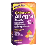 Allegra Allergy Non-Drowsy 12HR Children's Indoor/Outdoor Allergy Relief 24 Tablets Orange Cream