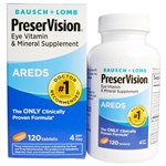 Bausch + Lomb PreserVision Eye Vitamin & Mineral Supplement Areds 120 Tablets