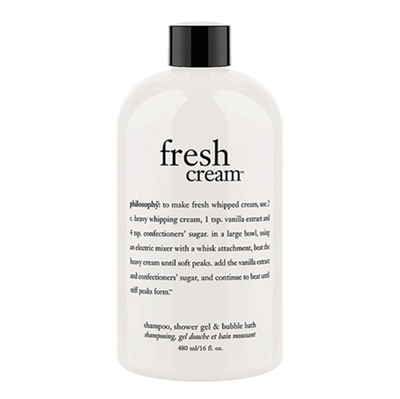 Philosophy Fresh Cream Shampoo, Shower Gel, & Bubble Bath 16oz / 480ml