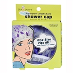 Spa Savvy Waterproof Elastic Band Shower Cap 1 Piece (Colors May Vary)