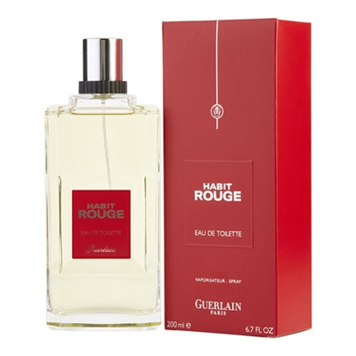 Habit Rouge by Guerlain for Men 6.7oz Eau De Toilette Spray