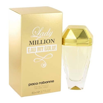 Lady Million Eau My Gold by Paco Rabanne for Women 2.7oz Eau De Toilette Spray